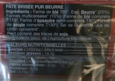 Pâte brisée pur beurre - Información nutricional