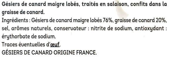 Gésiers confits de canard - Ingredients - fr