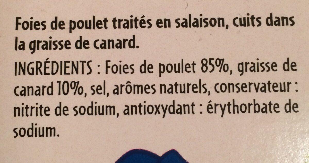 Foies confits de volaille - Ingrediënten