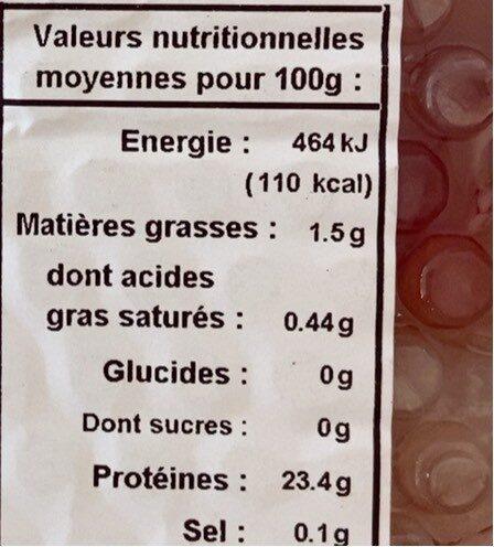 Aiguillettes de poulet - Informazioni nutrizionali - fr