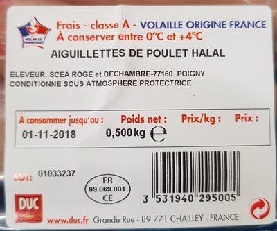 Aiguillettes de poulet Halal - Ingredienti - fr