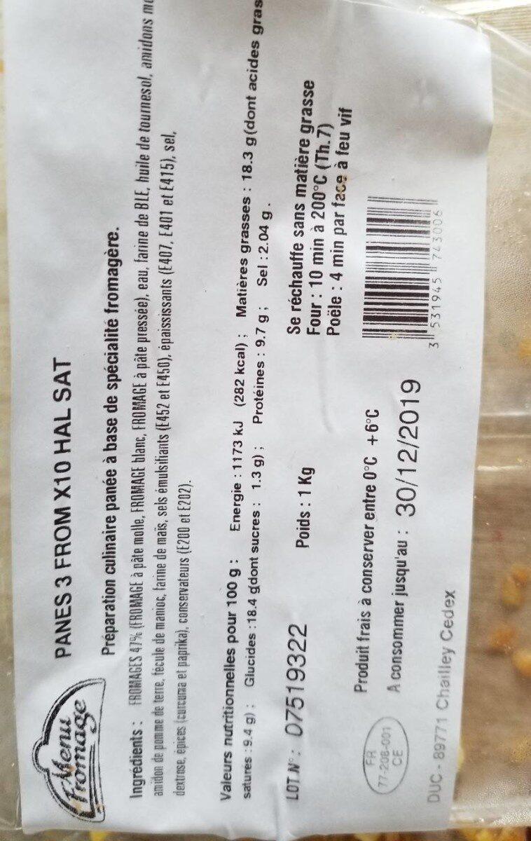 Panés 3 fromage - Informations nutritionnelles - fr