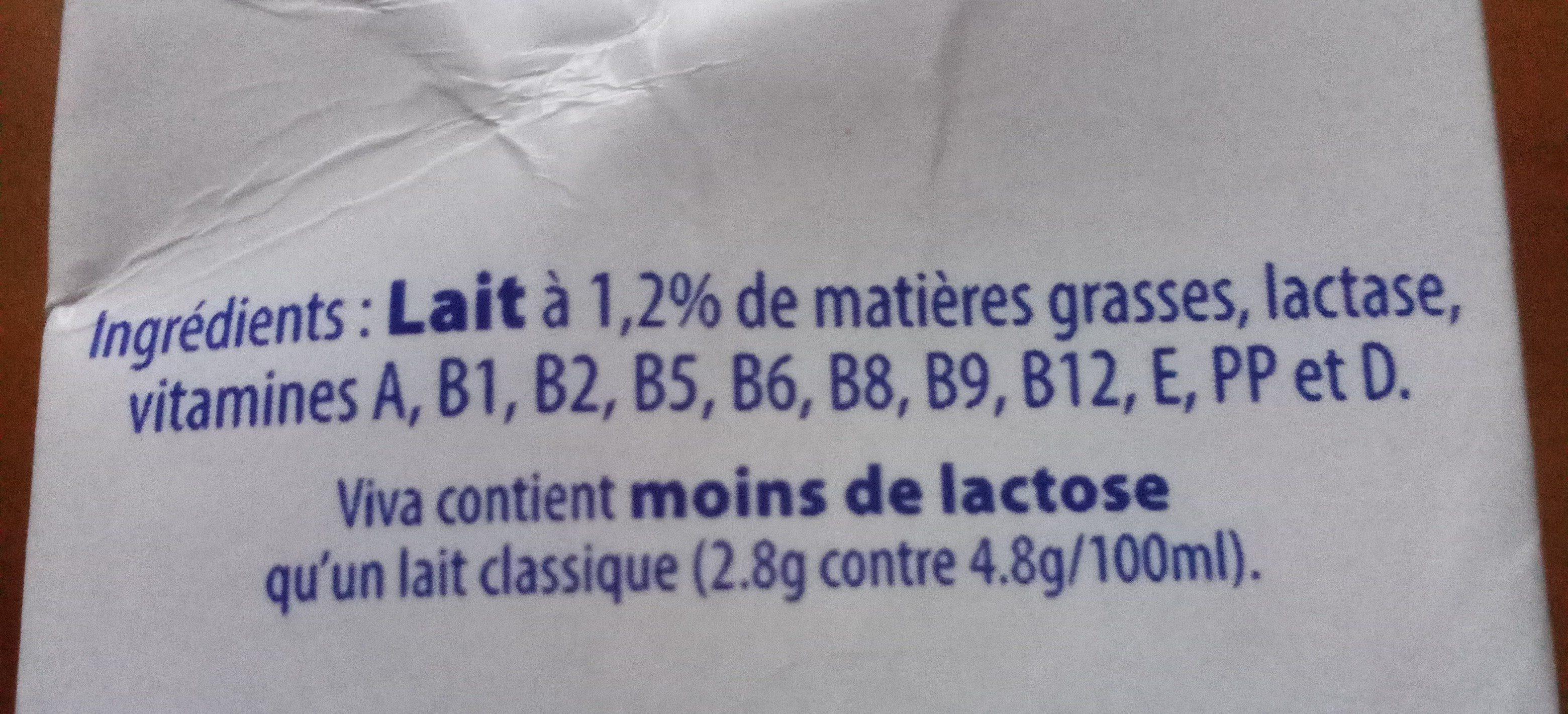 Viva, lait demi-écrémé - Ingrédients - fr