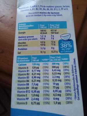 Viva, lait demi-écrémé - Informations nutritionnelles - fr