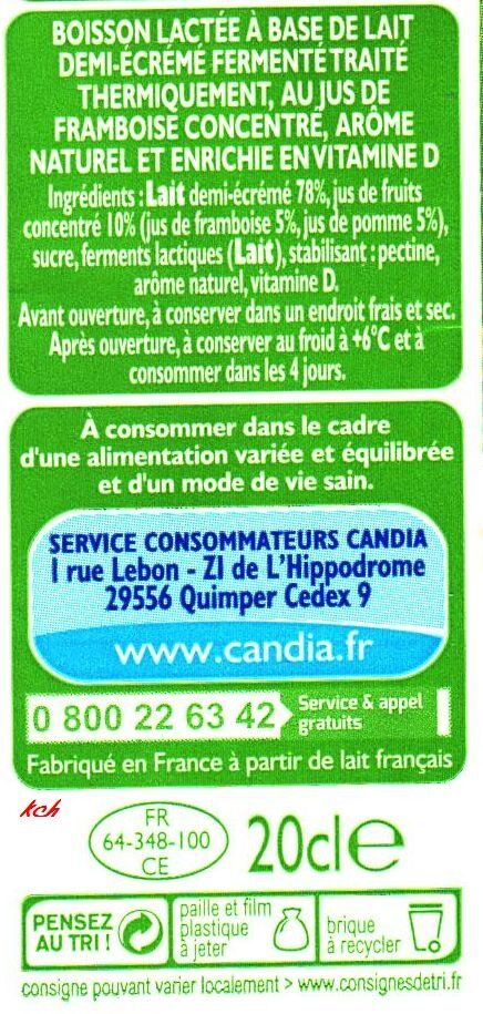 CANDY'UP®  - LAIT + JUS DE FRAMBOISE - Ingredients