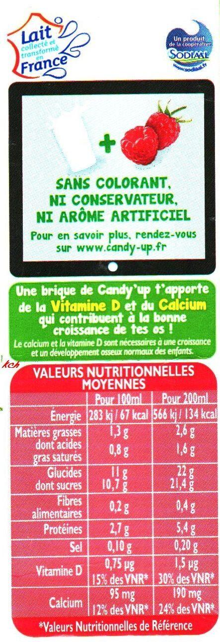 CANDY'UP®  - LAIT + JUS DE FRAMBOISE - Nutrition facts