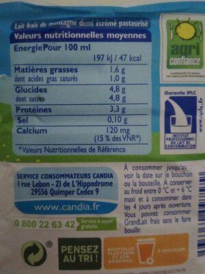Lait frais de montagne - Valori nutrizionali - fr