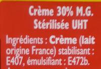 Creme fluide entiere - Ingrédients - fr