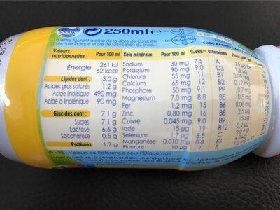 Lait bébé liquide de 10 mois à 3 ans, vanille Can - Informations nutritionnelles - fr