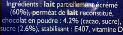 Boisson lactée chocolatée - Ingredients - fr