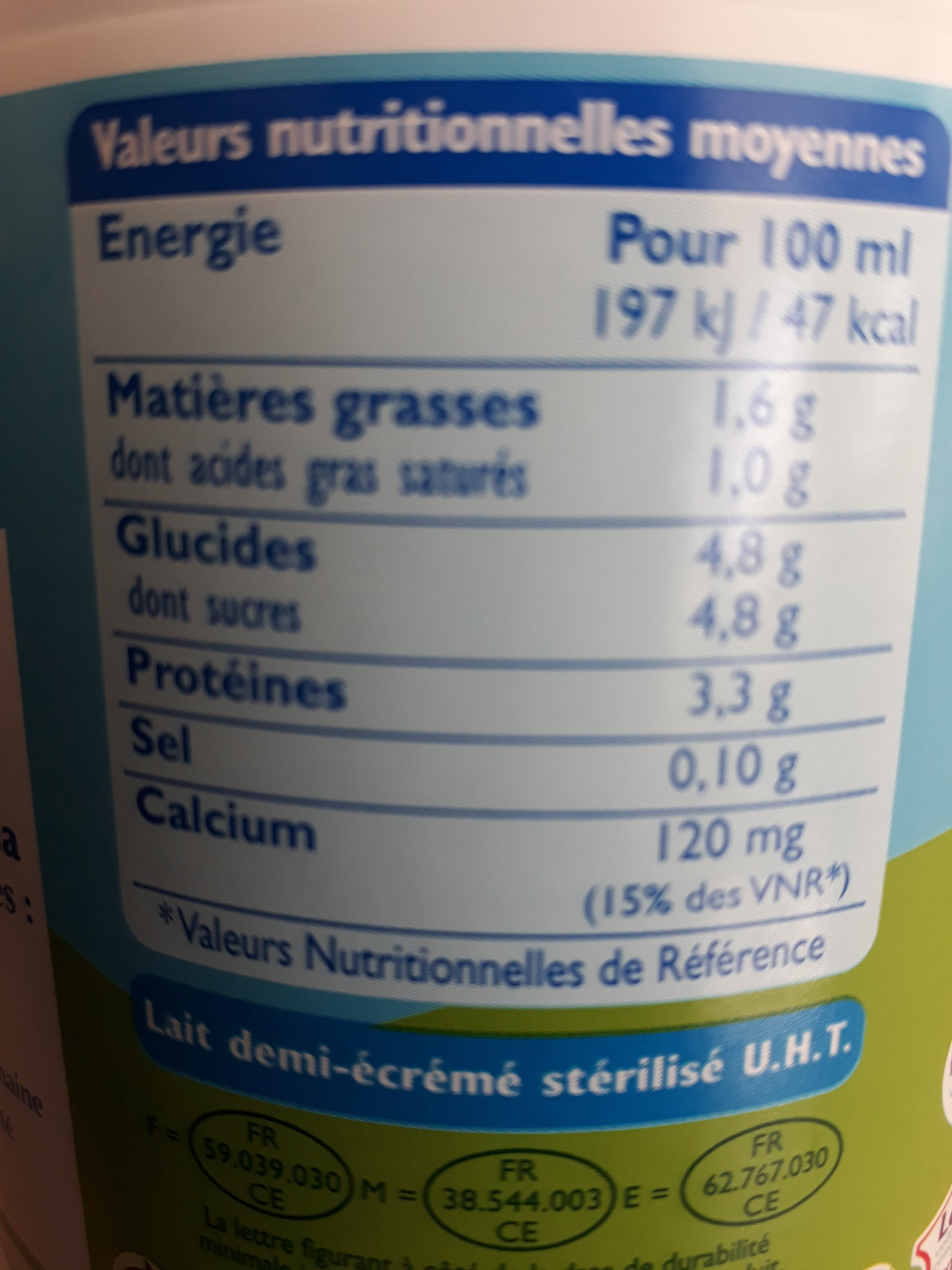 GrandLait - Demi-écrémé - Informations nutritionnelles - fr