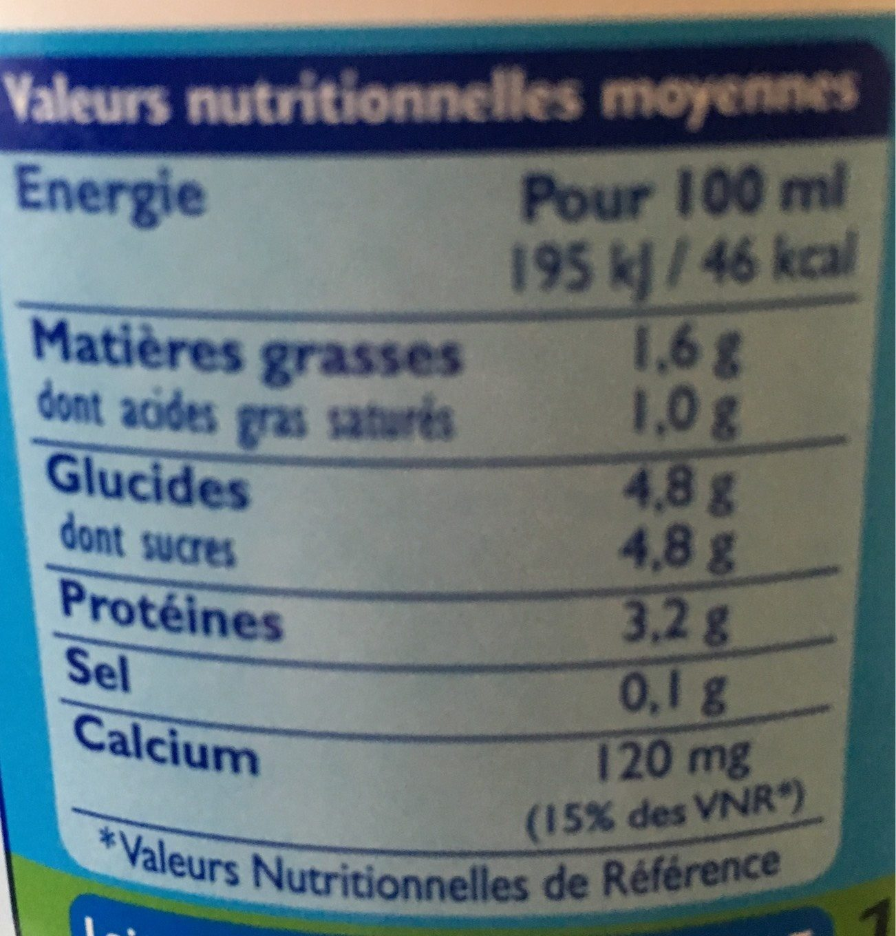 Lait GrandLait demi-écrémé - Nutrition facts
