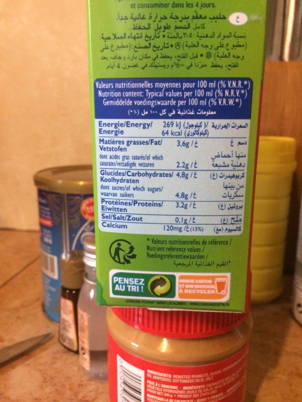 Candia Lait Uht Entier - Nutrition facts