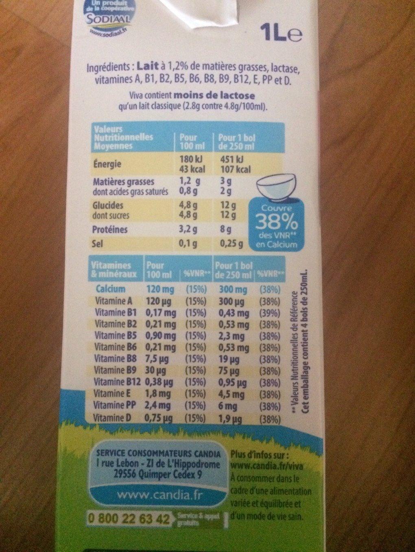 Viva, lait demi-écrémé stérilisé UHT - Informations nutritionnelles - fr