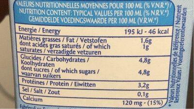 Lait Stérilizé Uht - Informations nutritionnelles - fr