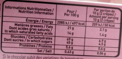 L'authentique Crêpe Dentelle de Bretagne Chocolat Noir - Informations nutritionnelles - fr