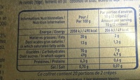 Crêpe Dentelle Chocolat au lait - Voedigswaarden