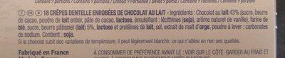 Gavottes crêpes dentelle chocolat au lait - Ingrediënten - fr