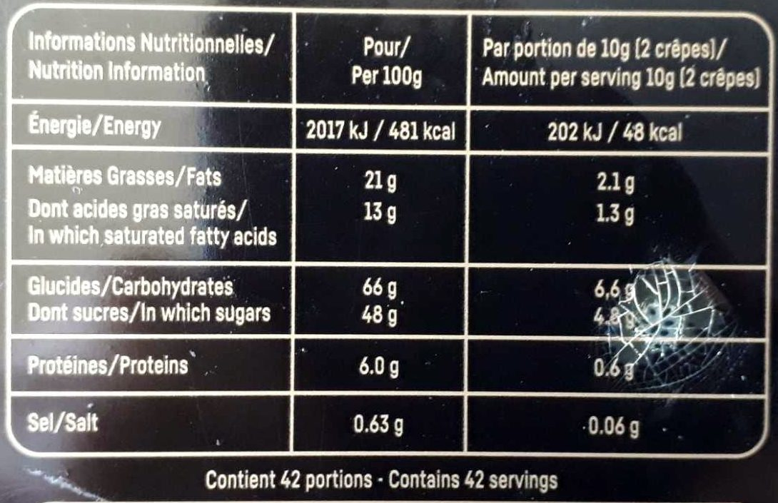Crêpe dentelle, chocolat au lait, chocolat noir - Voedingswaarden