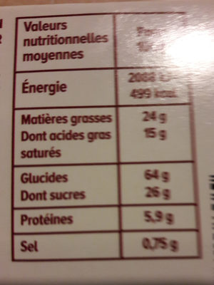 Sablés Rhum Raisins - Nutrition facts - fr
