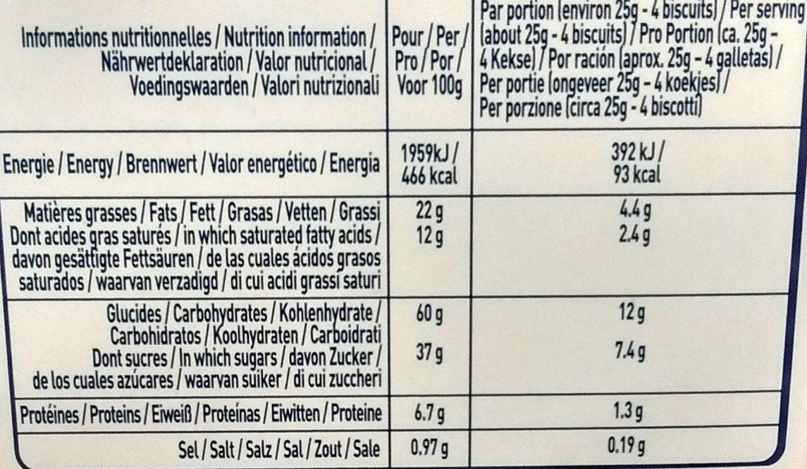 Fin Croquant aux Amandes et Chocolat au Lait - Nutrition facts - fr