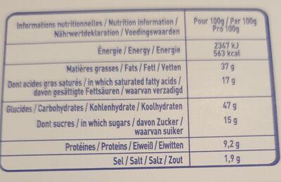 Gavottes crêpes fourrées apéritives - trio violet : bousin, comté et noix, roquefort - Nutrition facts