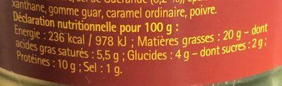 Langue De Boeuf Sauce Madère Henaff - 1 / 4 - 205gr - Informations nutritionnelles