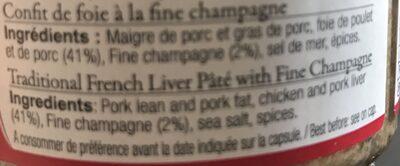 Confit de Foie à la Fine Champagne - Ingrediënten - fr