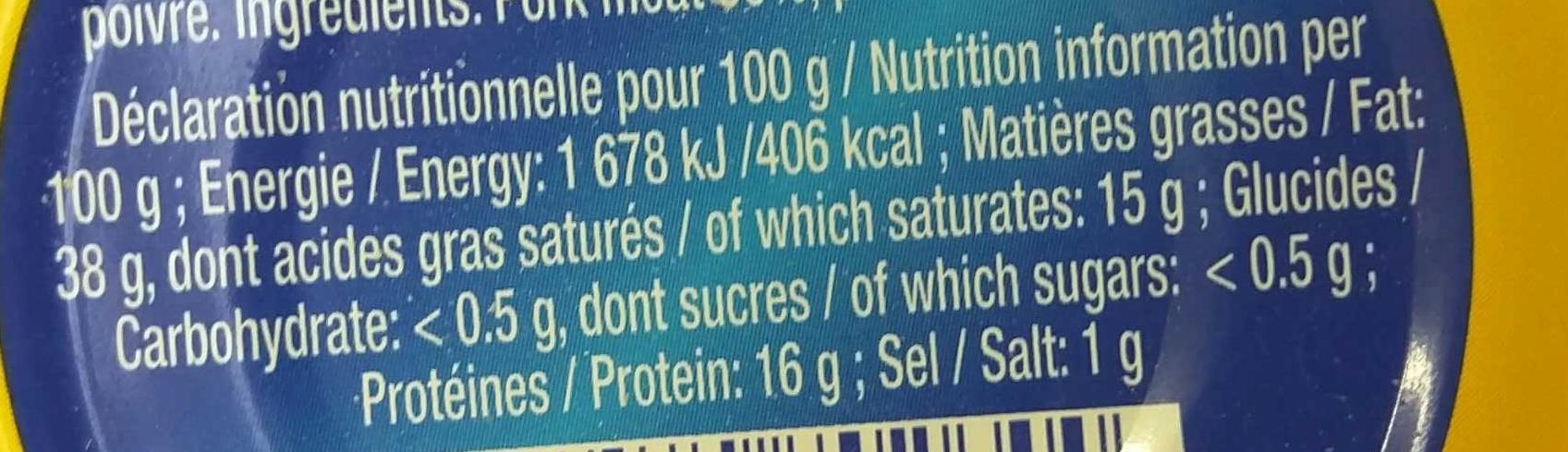 Les Rillettes Hénaff - Nutrition facts
