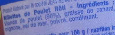 Rillettes de Poulet Rôti - Ingrédients - fr