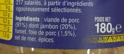 Le Pâté Hénaff - Ingrédients - fr