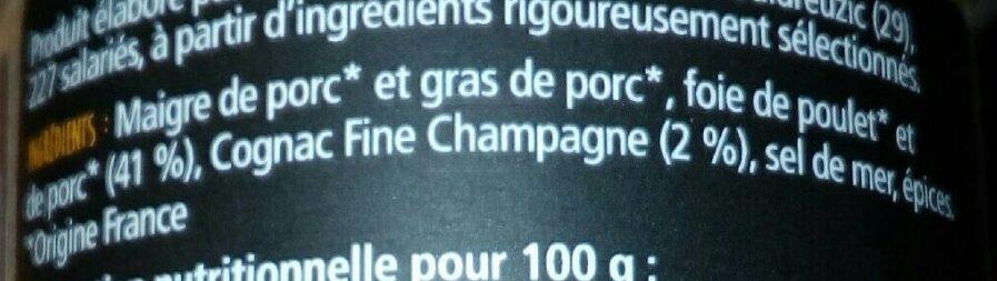 Confit de foie au cognac fine Champagne - Ingrediënten - fr