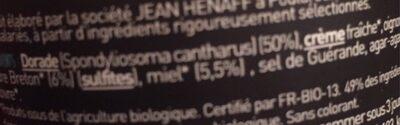 Rillette de dorade au miel et au cidre Bio - Ingrediënten - fr