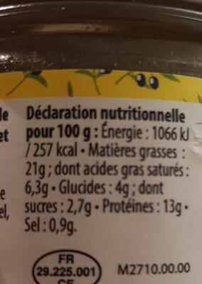 Tartinade de poulet méridional - Informations nutritionnelles - fr