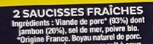 La Saucisse Nature - Ingrédients - fr