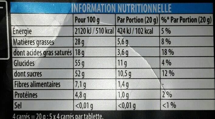 Poulain noir extra - Informations nutritionnelles