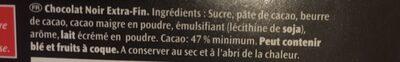 Noir Extra, Pur Chocolat Noir (47 % Cacao) - Ingredients