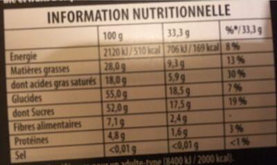 Noir Extra, Pur Chocolat Noir (47 % Cacao) - Nutrition facts