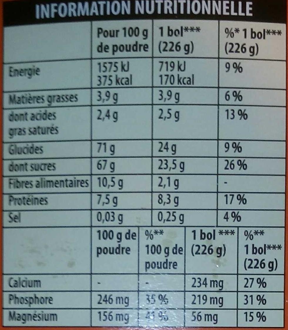 grand arôme 32% cacao sélectionné - Información nutricional - fr