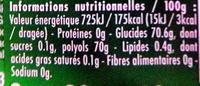 40 minutes de fraicheur gout menthe verte - Informations nutritionnelles - fr