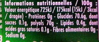 40 minutes de fraicheur gout menthe verte - Informations nutritionnelles