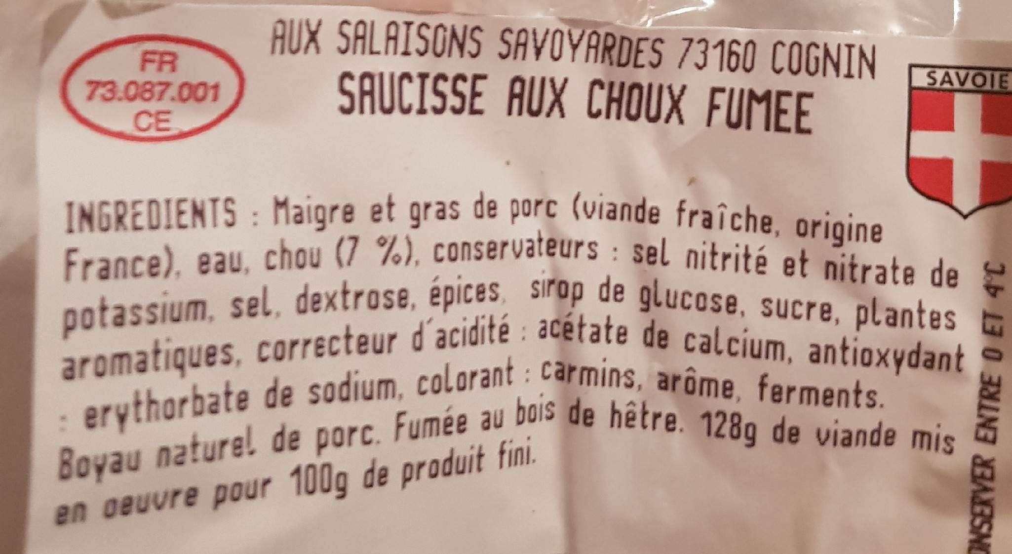 Saucisse aux choux fumée - Ingrediënten - fr