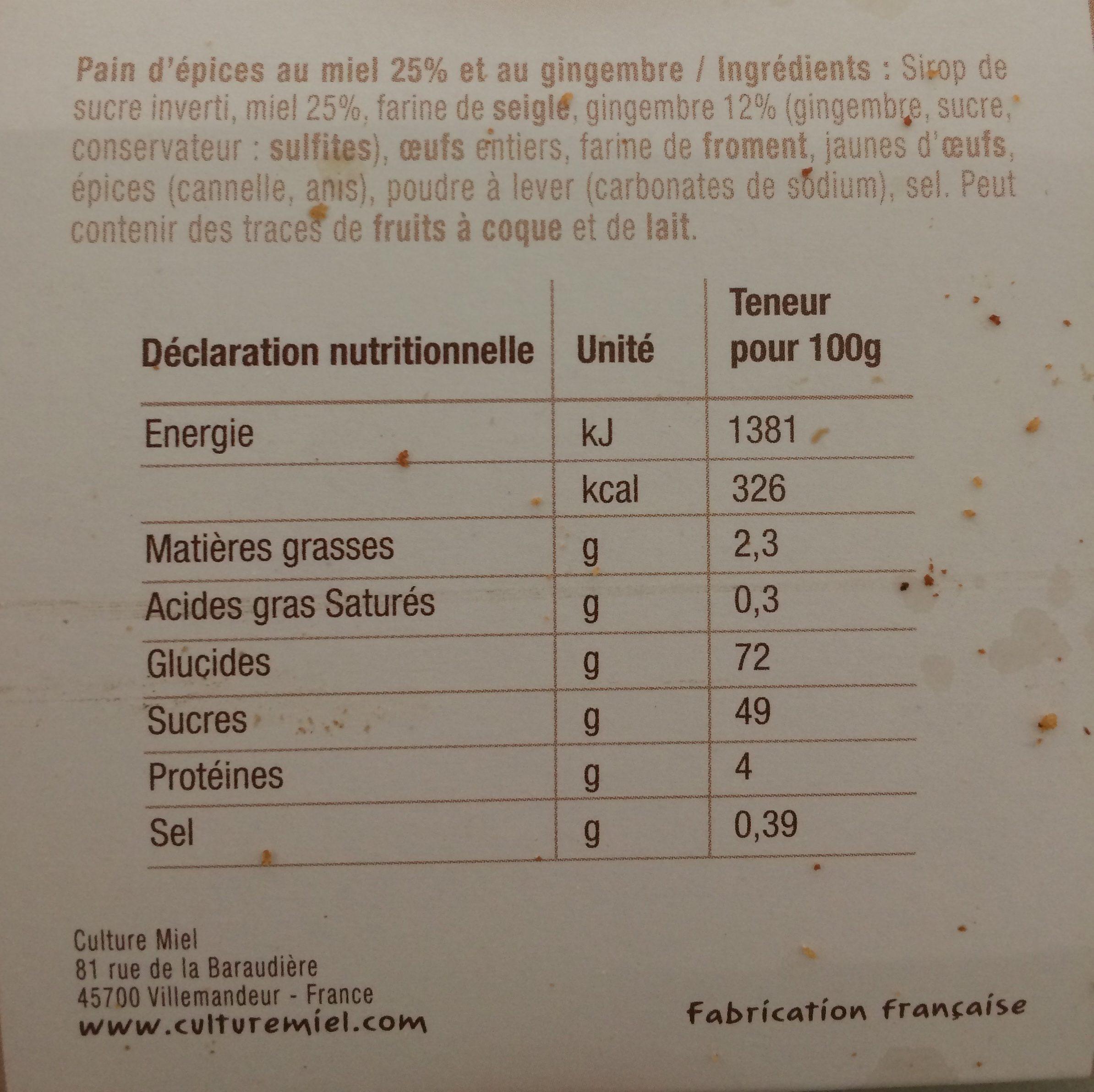 Pain d'épices au miel et au gingembre - Ingrediënten