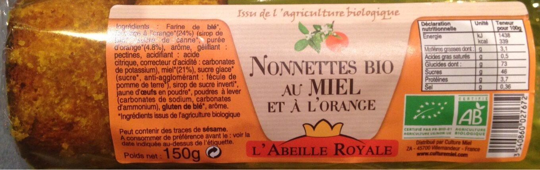 Nonnettes Bio au Miel et à l'orange - Produit - fr