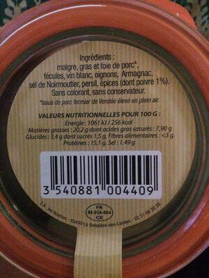 Terrine aux 5 poivres - Ingredienti - fr