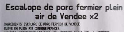 Escalope de porc fermier plein air de Vendée - Ingredients - fr