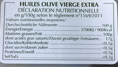 Huile d olive vierge extra - Nutrition facts