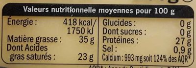 Comté AOP 15 Mois (34% MG) - Nutrition facts
