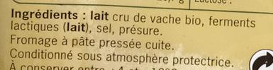 Comté bio - Ingredients