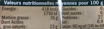 Comté bio - Nutrition facts